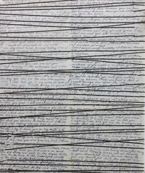 Lila Polenaki, Lines, 2017-18, ink, paper and acrylic on canvas, 30 x 25 cm